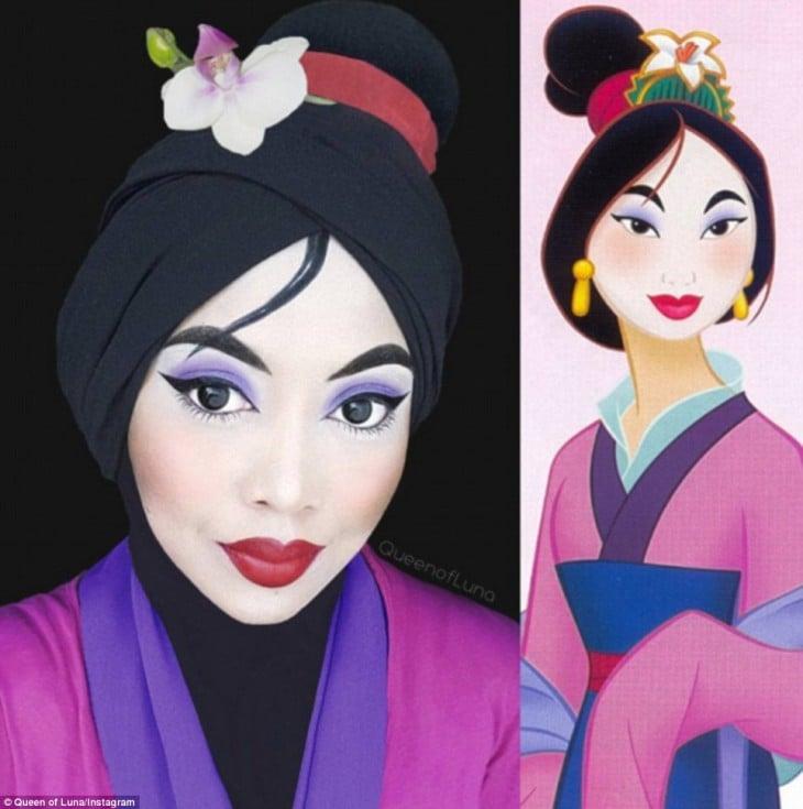 Maquillista se transformó en Mulan usando maquillaje y un hijab