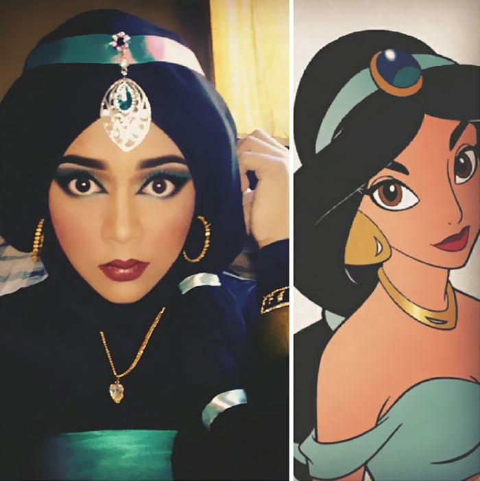 Artista de maquillaje tranformada en la princesa Jazmín de Aladdín