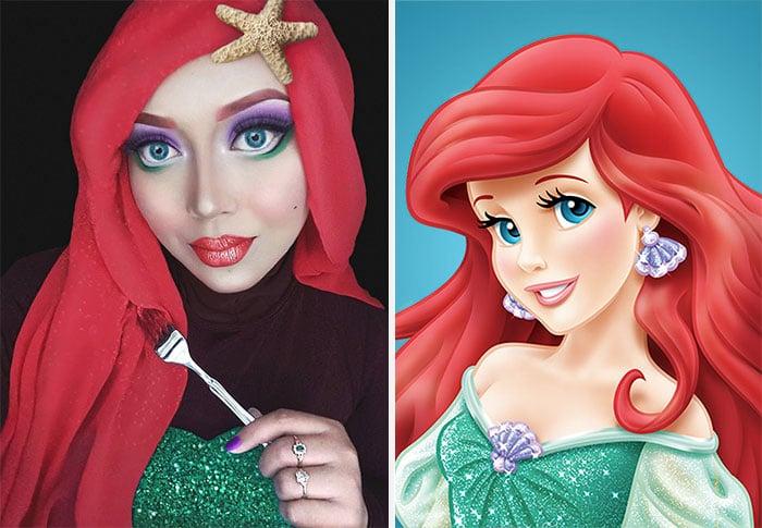 """artista de maquillaje transformada en Ariel """"La Sirenita"""""""