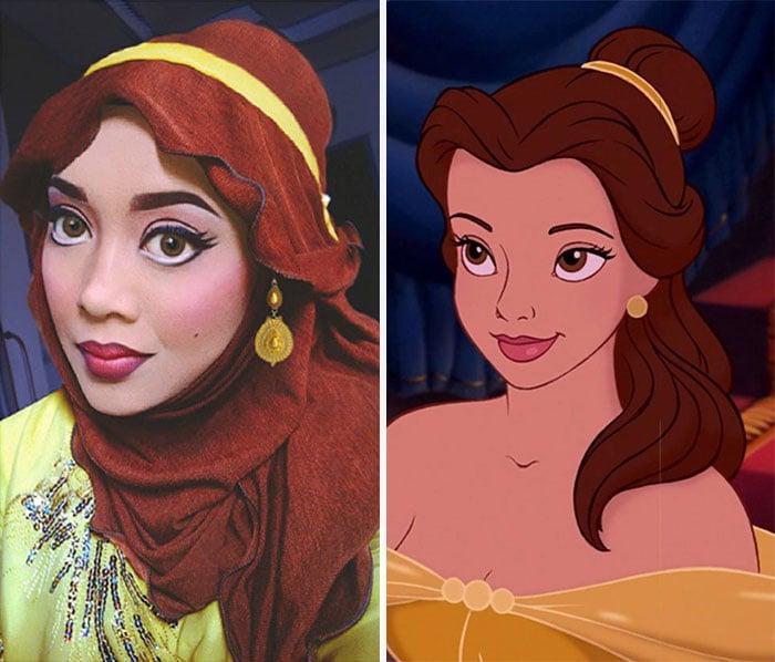 Maquillista disfrazada de la princesa Bella usando sólo un hijab