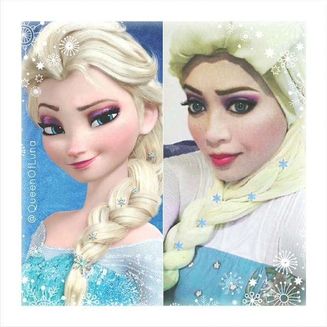Artista de maquillaje se transformó en elsa de Frozen con un hijab y maquillaje