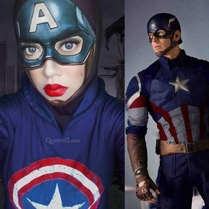 Artista de maquillaje de Malasia se transformó en el Capitán América