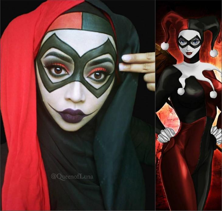 Maquillista de Malasia transformada en el Harley Quinn