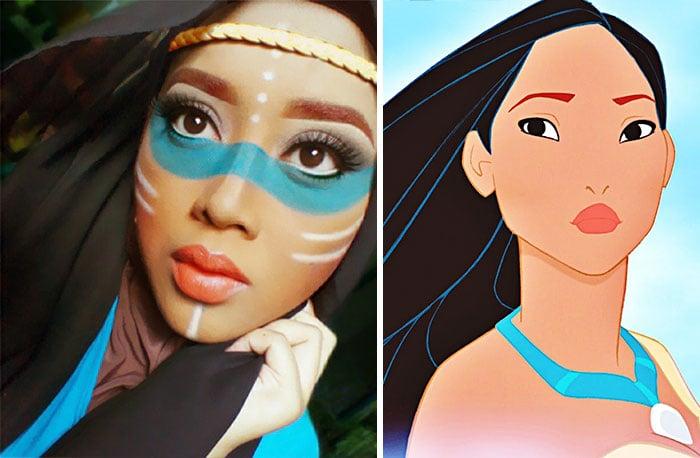 Maquillista se transformada en Pocahontas