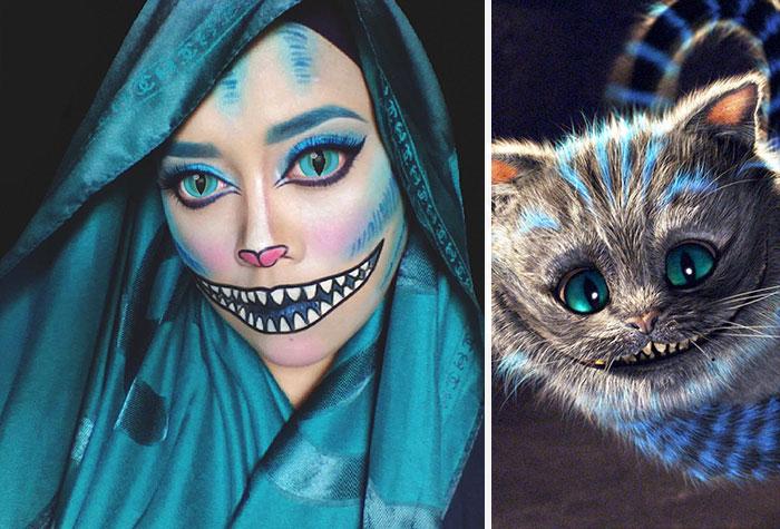 saraswati una artista de maquillaje de Malasia transformada en el gato sonriente de alicia en el país de las maravillas