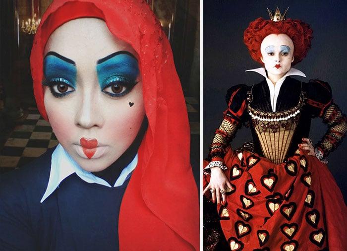 Maquillista se transformó en la reina roja de alicia en el país de las maravillas
