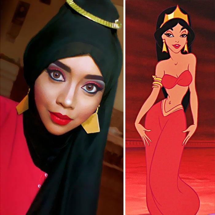 Maquillista disfrazada de la princesa Jazmín usando solamente maquillaje y un hijab