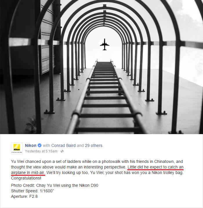 publicación en Facebook de la fotografía ganadora del concurso anual de Nikon