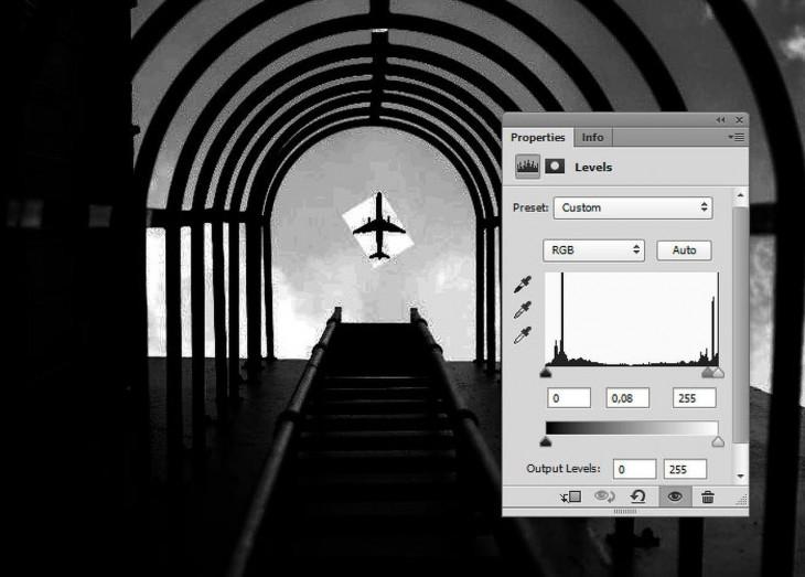 """checando el contraste de la fotografía """"coger un avión en el aire"""""""