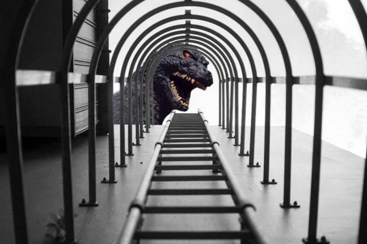 photoshop de la imagen ganadora del concurso nikon donde al final esta la cabeza de un dragón