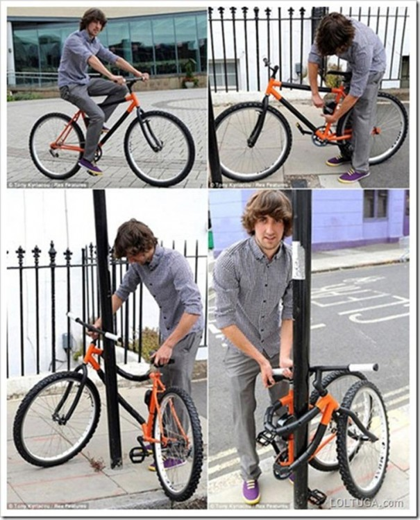 bicicleta plegable con candado integrado
