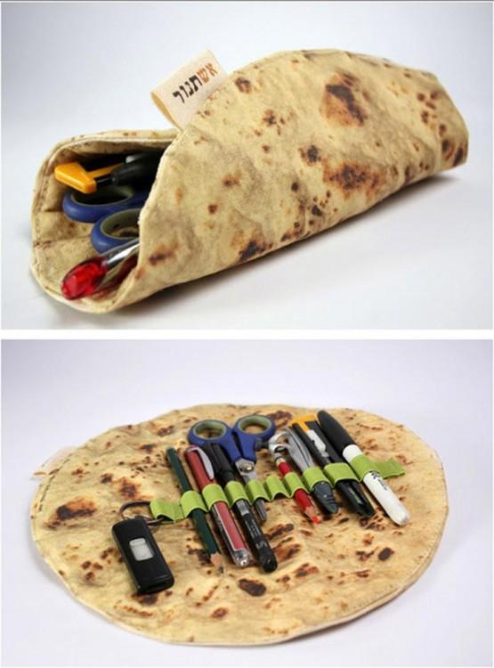 estuche para lapices con el diseño de una tortilla