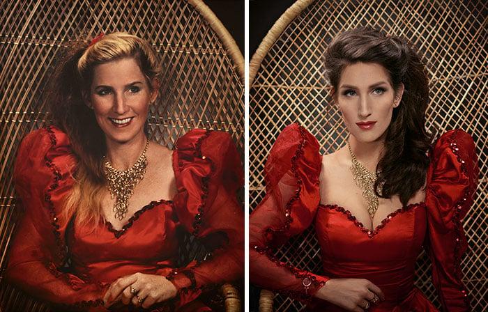 madre e hija con el vestido rojo