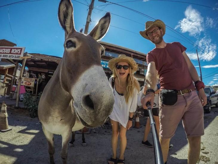 selfie de dos chicos que viajan alrededor del mundo en su furgoneta a lado de un burro