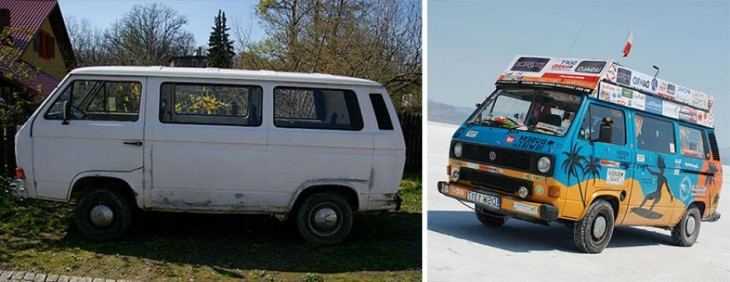 antes y después de una furgoneta