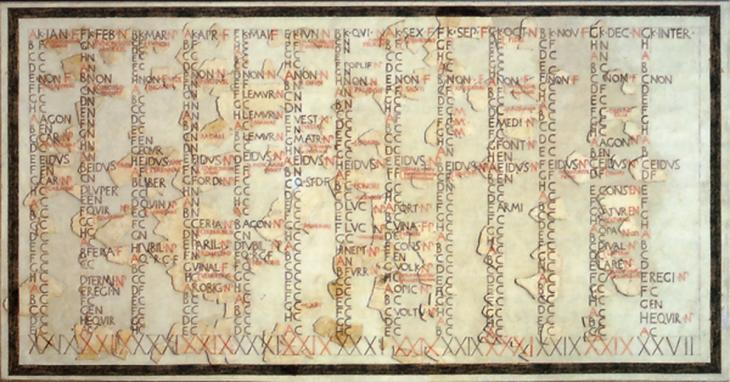 fotografía que muestra el calendario romano