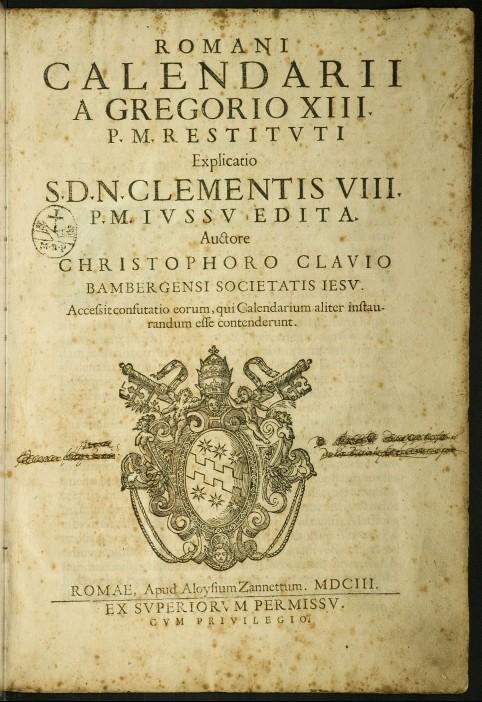Hoja que muestra el calendario gregoriano por el papa Gregorio Xll