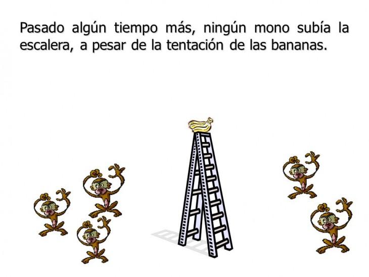 """ilustración que muestra la Resistencia al cambio """"la parábola de los 5 monos"""""""