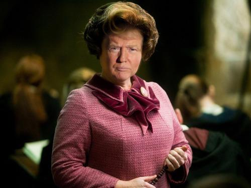 personaje de la saga de Harry Potter Dolores Umbridge fusionando la cara con la del candidato Donald Trump
