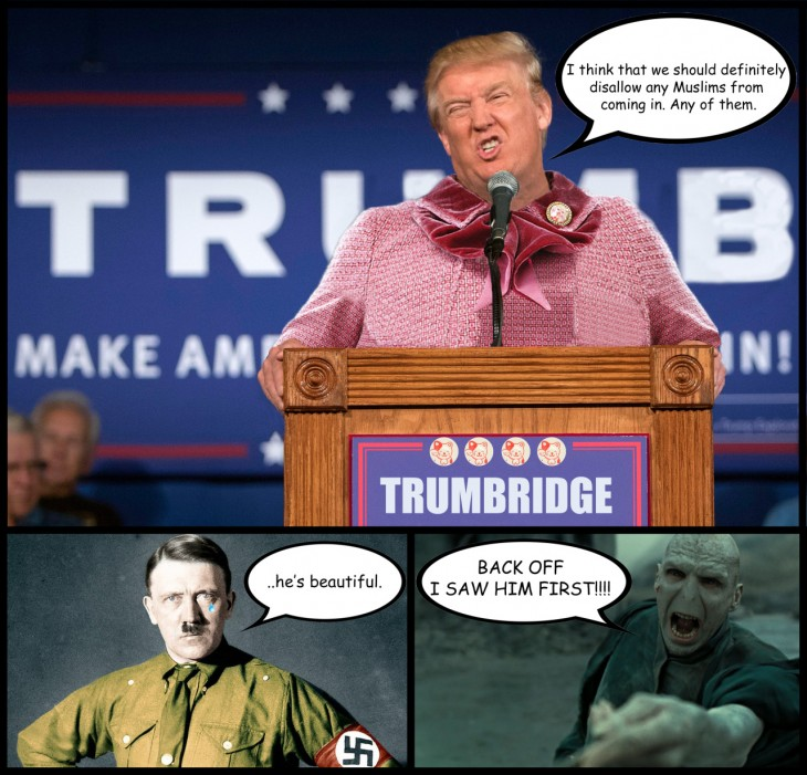 photoshop de Donald Trump combinado con Dolores Umbridge con comentarios de Hittler y Voldemort