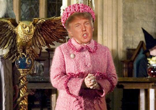 Cara de Donald Trump con el cuerpo del personaje de Harry Potter Dolores Umbridge