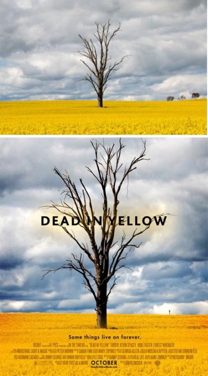 """paisaje convertido en el poster falso de una película titulada """"Dead In Yellow"""""""