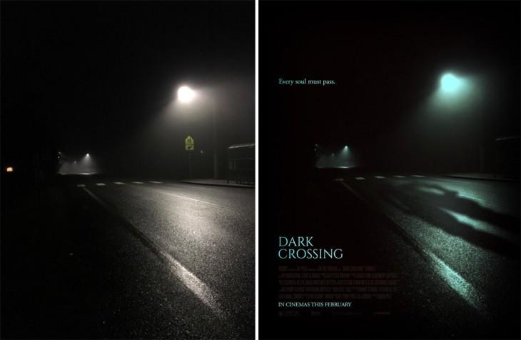 """paisaje oscuro convertido en un poster falso de película titulado """"Dark Crossing"""""""