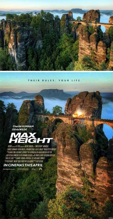 """paisaje de un tren por unas montañas convertido en un poster falso titulado """"Max Height"""""""