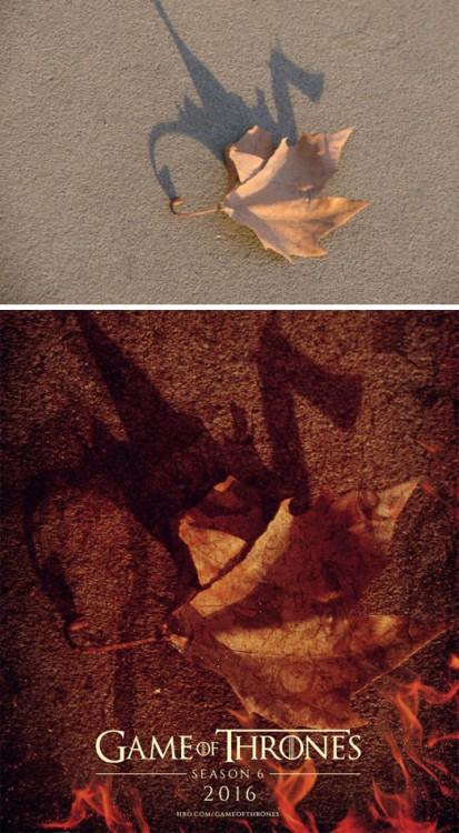 imagen de una hoja convertida en el poster de una película de Game Of Thrones