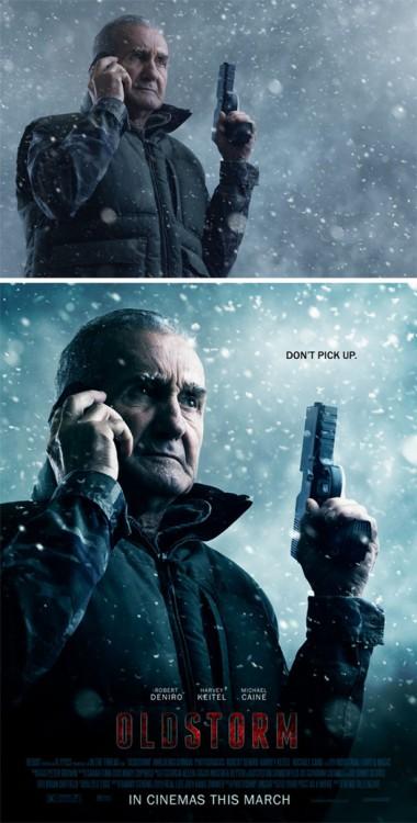 """fotografía de una hombre con una pistola convertida en el poster de una película titulada """"Oldstorm"""""""