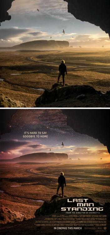 """Fotografía de un hombre convertida en el poster de una película titulada """"Last Man Standing"""""""