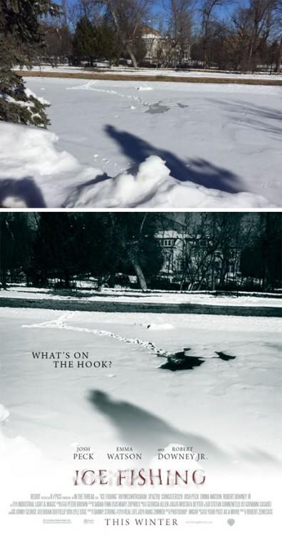 """Imagen de una sombra en el hielo convertida en el poster de una película titulada """"Ice Fishing"""""""