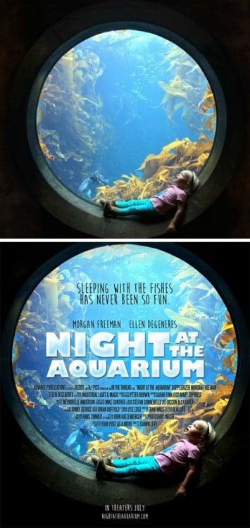 """imagen de una niña convertida en el poster """"Night at the aquarium"""""""