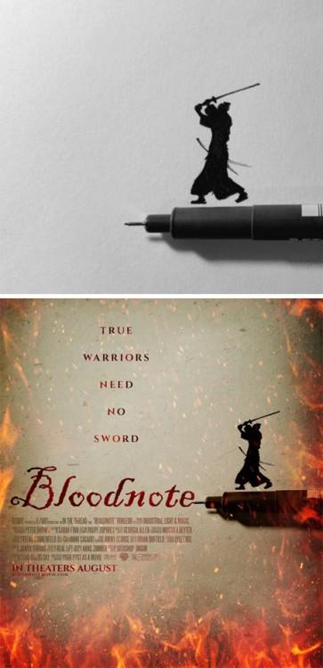 """imagen de un samurai sobre una pluma convertido en el poster falso de una película titulada """"Bloodnote"""""""