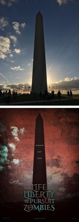 "Poster falso de una película titulada ""Life Liberty And The Pursuit Of Zombies"""