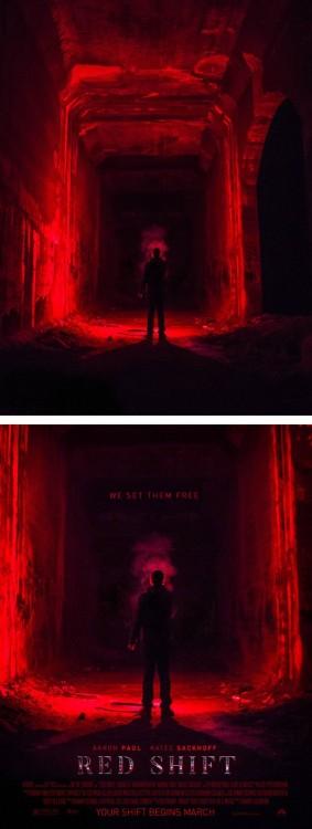 "imagen de un hombre sobre un fondo rojo convertido en un poster titulado ""Red Shift"""