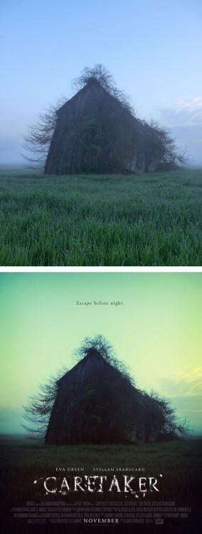 "Paisaje de una cabaña convertida en un poster falso titulado ""Caretaker"""