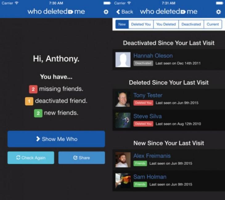 'Who Deleted Me' aplicación te dice quién te elimino de Facebook