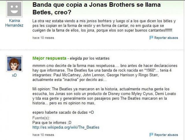 YAHOO RESPUESTAS ¿QUÉ BANDA QUE SE LLAMA THE BEATLES CREO, COPIA A LOS JONAS BROTHERS?