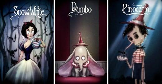 Los clásicos de disney al estilo Tim Burton