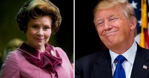 similitudes de Dolores Umbridge y el candidato republicano a la presidencia Donald Trump