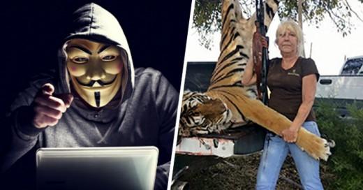 fue avergonzada por el grupo Anonymous después de publicar una foto a lado de un tigre muerto.