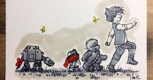 Artista crea ilustraciones combinando Winnie the Pooh con los personajes de la famosa saga Star Wars.
