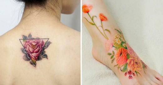 tatuajes florales estilo acuarela