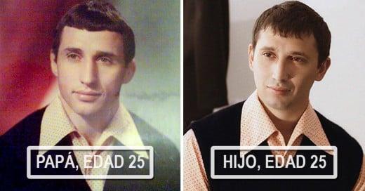 20 fotografías de padres e hijos que estan idénticos