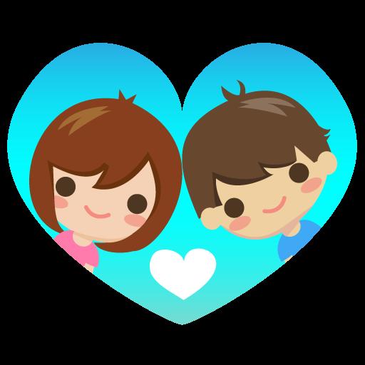Ilustración de dos enamorados dentro de un corazón
