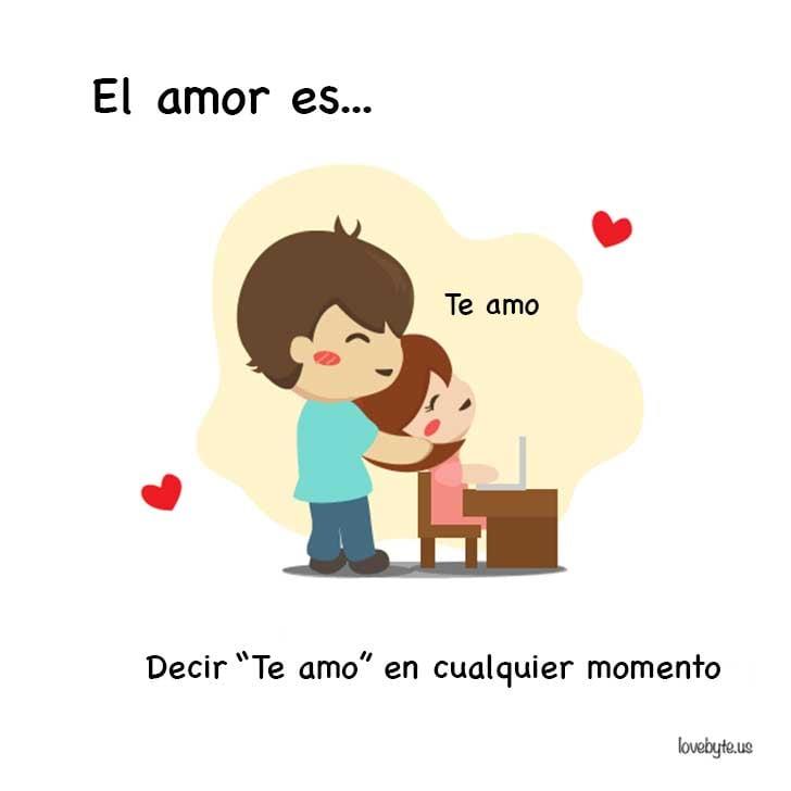 """ilustración de el amor es decir """"Te amo"""" en cualquier momento"""