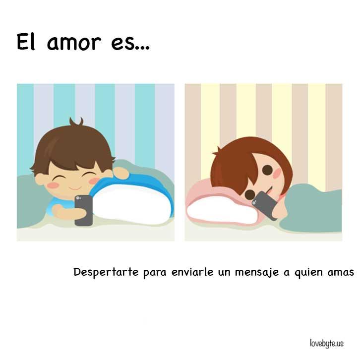 ilustración que nos muestra que el amor es despertarte y enviar un mensaje a tu pareja