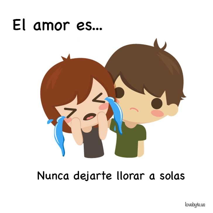 ilustración que muestra que el amor es nunca dejar llorar a solas a tu pareja