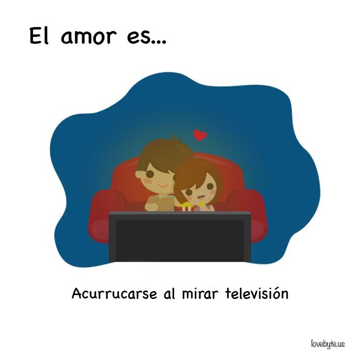 ilustración de el amor es acurrucarse a ver televisión